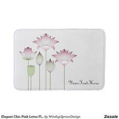 Elegant Chic Pink Lotus Flowers Bathroom Mat