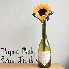 Easy paper doily decoupaged wine bottles centerpiec, paper doilies, paper hearts, dollar store, beer bottles, decoupag wine, wine bottles, old bottles, diy projects