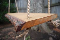 Solid Plank Tree Swing with rope by bluemountainwoodwork on Etsy, $88.00