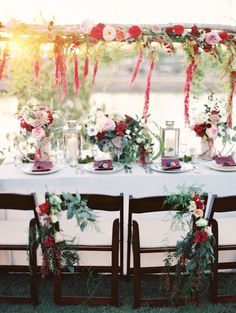 Red florals with naked cake 'Lake House styled shoot' ~ Brushfire Photography