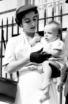 Elizabeth Taylor with her son Michael Howard Wilding .....Uploaded By www.1stand2ndtimearound.etsy.com