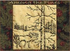 Among the Pines - Moose - Redwork Hand Embroidery Pattern by Beth Ritter - Instant Digital Download
