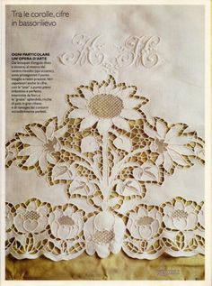 (24) Gallery.ru / Фото #55 - РАКАМ 2002/1 - Olenka74 Cutwork Embroidery, Hand Embroidery Patterns, Machine Embroidery, Cut Work, Antique Lace, Needlework, Vintage World Maps, Monogram, Couture