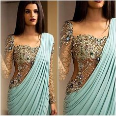 Love this jeweled sparkly top with the sleek fabric on this aqua colored saree - great for an indian wedding dress - for a sangeet or an indian wedding reception