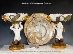 Antique Art Nouveau Porcelain Centerpiece Pair, Figural Mermaid, Lotus from antiques-uncommon-treasure on Ruby Lane