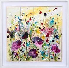 'Fields of Joy'This ... Wow Painting, Painting Frames, Watercolor Flowers, Watercolor Art, Large Framed Art, Original Art, Original Paintings, Positive Art, Irish Art
