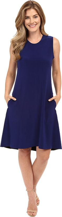 KAMALIKULTURE by Norma Kamali Women's Sleeveless Swing Dress Bonded Blueberry Dress. KAMALIKULTURE Size Chart. A fun and flattering jersey dress that can be worn with a variety of looks. Sleeveless swing dress in bonded stretch polyester jersey. Easy fit. A-line shape. Crew neckline. Onseam patch hand pockets. Slip-on. Unlined. 95% polyester, 5% spandex. Machine wash cold, tumble dry low. Imported. Measurements: Length: 40 in Product measurements were taken using size SM. Please note that...