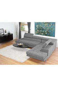 Adelaide Gray Twill Fabric Modern Sectional Sofa on @HauteLook