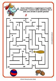 Imparare le tabelline è divertente con il labirinto! Aiuta Celestino a raggiungere la palla seguendo i numeri della tabellina del 2: solo una strada è quella giusta!   #geoandcompany #materialedidattico #tabelline #labirinto #tabellinadeldue #ilmondodigeo #matematica #matematicadivertente #schededidattiche #didattica #scuolaprimaria #maestre #scuola #insegnare #carlopanaro #lucianogatto #mariapatriziapanaro #celestino #maths #primaryschool Math 4 Kids, Math 2, Kids Learning, Homeschool, Coding, Math Activities, Math Practices, Cross Stitch Art, Teachers