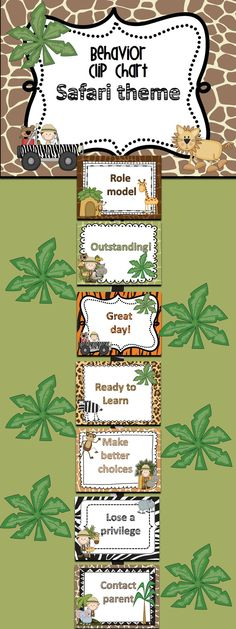 Promote good behavior in your classroom with this safari themed clip chart. This is a PowerPoint file that can be edited to suit your classroom needs. The graphics cannot be changed, but the wording can. Simply delete my text box, insert a new text box and use your own font to change the wording.  I've included a printable that can be sent home daily.