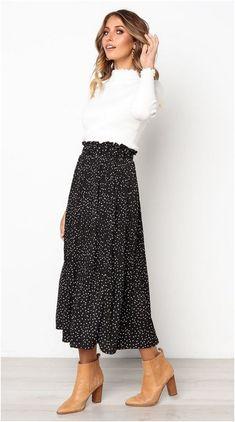 Black Polka Dot Maxi Skirt Jassie Line - Maxi Skirts - Ideas of Maxi Skirts # Casual Outfits for work polka dots Spring Station Maxi Skirt Maxi Skirt Outfits, Maxi Skirts, Dress Skirt, Maxi Skirt Outfit Summer, Jean Skirts, Maxi Skirt Black, Denim Skirts, Long Skirts, Maxi Skirt Work