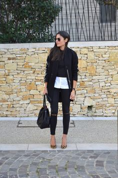 Try breaking up an otherwise monochrome outfit... - Street Style