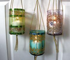 Bohemian Bedroom Decor, Boho Decor, Diwali Lantern, Lantern Crafts, Lantern Designs, Jar Lanterns, Bottle Crafts, Jar Crafts, Room With Plants