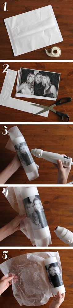 Candles with pictures candle hair dryer wax paper tissue paper tape scissors cut square of tissue paper, draw a picture on it tape it to candle wax paper over drawing and tape down as well hairdryer on really close at high heat once tissue paper is gone, peal away waz paper