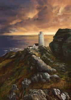 Landscape -  Lighthouse,  sunset