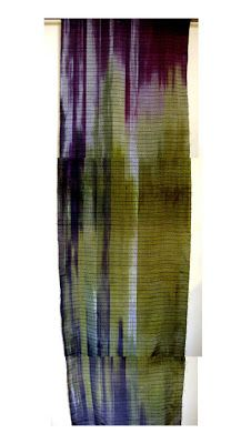 I just finished weaving the two pieces I was working on -- a painted warp piece, above, for shibori and surface design, and a plain silk twi. Painted Warp, Hand Painted, Loom Weaving, Hand Weaving, Wool Felting, Yarn Inspiration, Print Ideas, Hand Dyed Yarn, Shibori