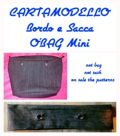 Cartamodello (carta modello) bordo e sacca interna obag mini di TitaHandmadeshop su Etsy