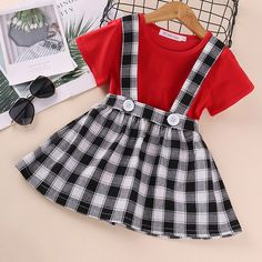 Crewneck Ruffle Solid T-Shirt+Plaid Skirts Overalls Newborn Baby Girls Cute 2 Pieces Cotton Clothes Set 0-24 Months