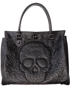 Frightful Filigree Skull Tote Bag $72.00 AT vintagedancer.com #halloween