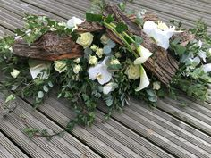 Casket spray, funeral coffin spray, funeral flower tribute, white orchid and rose coffin spray, rustic, www.thefloralartstudio.co.uk Plus
