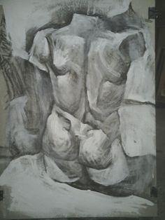 Torso study acrylics on paper,50x70