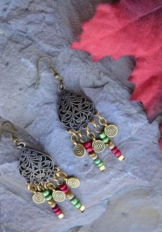 Bronze Boho Earrings Bronze Glass and Gold Dangle by LKArtChic