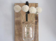 Hanging Wall Vase with Pom Pom Flowers by BeiFioriEmbellish