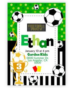 Soccer Birthday Parties, Football Birthday, Soccer Party, Sports Party, Invitation Cards, Invitations, Party Time, Illustration, Christmas Crafts