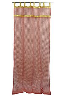 Mogul Interior 2 Pc Curtain Rust Golden Drape for Bedroom Living Room Window Tre - Candles Asian Curtains, White Sheer Curtains, Boho Curtains, Window Drapes, Panel Curtains, Indian Interiors, Colorful Interiors, Indian Inspired Bedroom, Printed Curtains