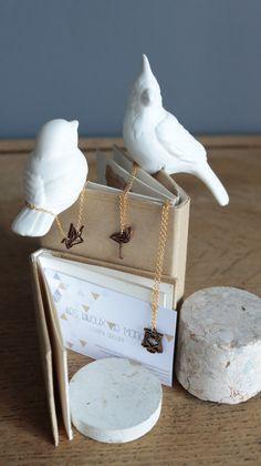 Collier doré oiseau origami bambou par LesbijouxdeManon sur Etsy