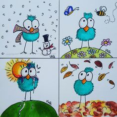 Birds Birdies in every season - the 4 seasons of birds - birds every season - Doodle a season - design: A Second Life (The Netherlands) You are in the right place about Birds costume Here we offer you Bird Drawings, Easy Drawings, Drawing Birds, Arte Elemental, Doodles, Doodle Art Journals, Happy Paintings, Watercolor Cards, Mail Art