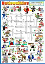 English worksheet: NATIONALITIES  CROSSWORD (KEY AND B&W VERSION INCLUDED)