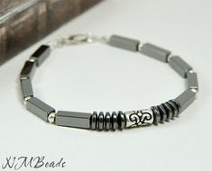 Hematite Men's Bracelet  With Sterling Silver by NMBeadsJewelry