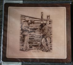 Bernie Brown's 'Swappin' Lies' laser engraved onto leather mouse pad. Engraved and supplied by Prairie Engraving.  Visit our online store at http://prairie-engraving.myshopify.com