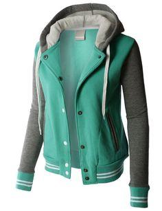 LE3NO PREMIUM Womens Contrast Sleeve Fleece Varsity Baseball Hoodie Jacket at Amazon Women's Coats Shop
