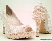 """Items similar to The """"Lacy Lift"""" for Women's Heels : lace covering for shoes, upcycled high fashion spring garden victorian wedding on Etsy Bride Shoes, Wedding Shoes, Wedding Lace, Garden Wedding, Wedding Bouquets, Wedding Stuff, Lace Heels, Women's Heels, High Heels"""