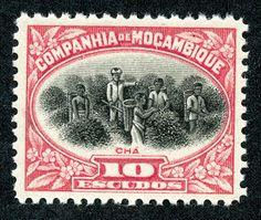 "Mozambique Company  1925 Scott 160 10e rose & black  ""Picking Tea"""