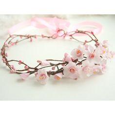 Cherry blossom crown, bridal flower crown, wedding flower crown, pink... ($70) ❤…