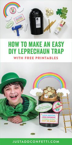 Looking for some St. Patrick's Day fun? Make an easy DIY leprechaun trap with your kids! With only a few simple materials, a swing top mini trash can, and my Just Add Confetti free printable signs you will be able to whip up this St. Patrick's Day kids craft in no time! Head to justaddconfetti.com for even more fun holiday and craft ideas.
