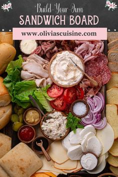 Build-Your-Own Sandwich Platter | www.oliviascuisine.com | Looking for some DIY sandwich ideas? A Build-Your-Own Sandwich Platter is a great way to entertain and feed a crowd! Your guests get to assemble their favorite sandwiches and you get to actually enjoy the party without running back and forth to the kitchen. This easy DIY sandwich board is also perfect for lunch or playdates. #sandwichboard #partyfood