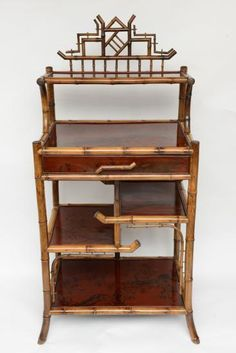19th British Bamboo Etagere Oriental