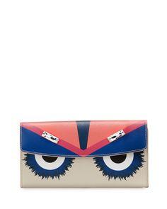 Fendi Monster Continental Wallet, Multicolor, Multi