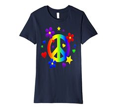 Flower Power Peace Sign - Slim Fit T Tee Shirt - Muted colors. Peace out in this great tee shirt. Features rainbow peace sign flanked by colorful hearts & flowers. #Peace  #cool .  #Love.  Buy it on Amazon !  Fit: Slim (consider ordering a larger size for a looser fit)  Original Diva Duds wear. Designed & printed in the USA