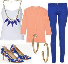 COBALT + PEACH for Spring - Cobalt pants & peach sweater - pumps from Ann Taylor