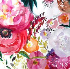 50% de descuento venta - pared Decor - floración - letra Living sala Home Decor - arte floral - grande 20 x 20 - Poster - Floral - luminoso - Magenta - Resumen