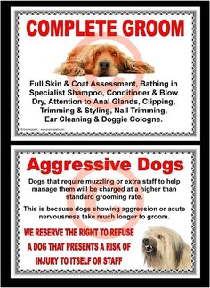 DOG GROOMING - COMPLETE GROOM & AGGRESSIVE DOGS SIGNS by GROOMERGRAPHIX in Pet Supplies, Dog Supplies, Other Dog Supplies | eBay