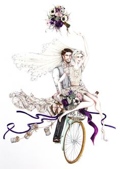 JUST MARRIED // That joyous feeling the moment you both say yes! Look out for this illustration & more in the new volume of… Weding Decoration, Diy Wedding Decorations, Wedding Art, Wedding Bride, Bicycle Themed Wedding, Wedding Dress Sketches, Crafts With Pictures, Just Married, Fashion Art