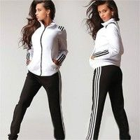 Women's Fashion Active 2 Pcs Outfits & Sets Sweatshirt Pullovers Zipper Hoodies Sweaters Ninth Strai