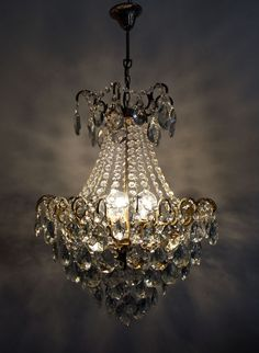 Antique French Spider Style Brass &  Crystals  Chandelier Ceiling Lamp