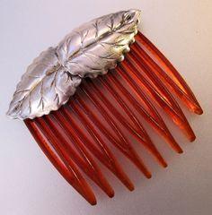 Vintage Sterling Silver Leaf Hair Comb by BrightEyesTreasures, $19.99